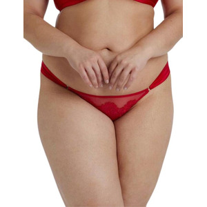 Playful Promises Anneliese Satin Brazilian Brief Curve Red, Red