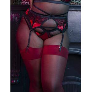 Playful Promises Curve Suspender Belt Red, Red