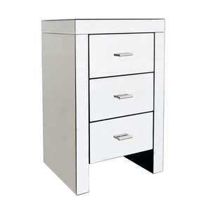 Charles Bentley 3 Drawer Mirrored Bedside Table