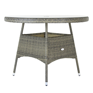 Charles Bentley 4 Seater Round Rattan Dining Table - Grey / Natural Natural