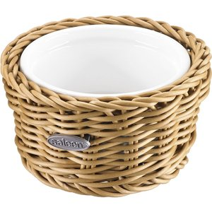 Saleen Beige 11cm Round Basket With Porcelain Bowl
