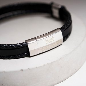 Engraved Men's Leather Bracelet - Any Message Mens Jewellery