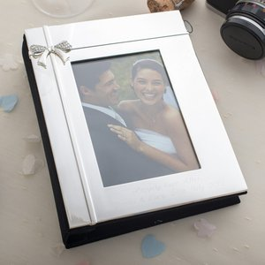 Engraved Photo Album With Crystal Ribbon Personalised Gifts