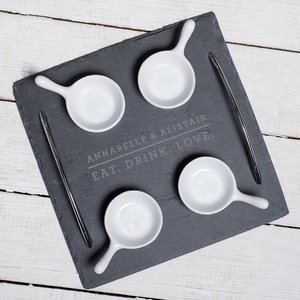 Engraved Slate Serving Tray With 4 Bowls - Eat. Drink. Love. Personalised Gifts