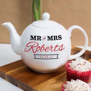 Personalised Bone China Teapot - Mr & Mrs Personalised Gifts