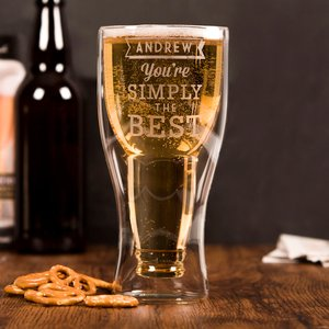 Personalised Bottoms Up Beer Glass - Simply The Best Personalised Gifts