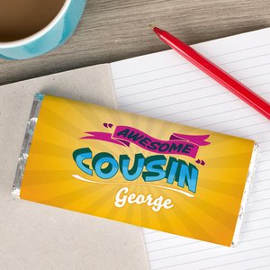 Personalised Chocolate Bar - Awesome Cousin Personalised Gifts