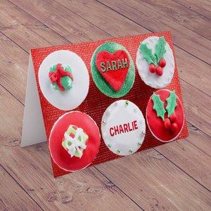 Personalised Christmas Card - Christmas Cupcakes Greeting Cards