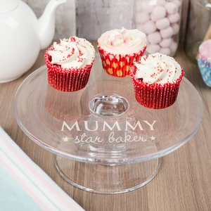 Personalised Glass Cake Stand - Star Baker Personalised Gifts