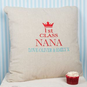 Personalised Natural Cushion - First Class Personalised Gifts