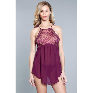 Be Wicked Alana Chemise - Burgundy - Small