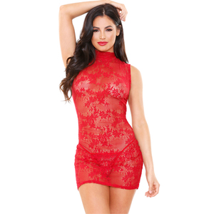 Tease Ariel Lace Dress With Thong - Red - One Size