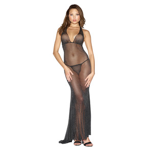 Dreamgirl Large Black Gown With G-string
