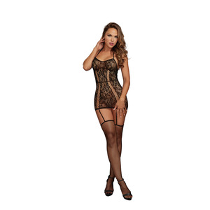 Dreamgirl One Size Black Lace Garter Dress With Fishnet Thigh High Stockings