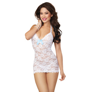 Dreamgirl One Size White Sexy Stretch Lace T-back Chemise With Delicate Pearl Trim Detail