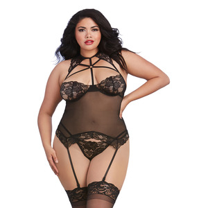Dreamgirl Plus Size Black Scalloped Stretch Lace And Mesh Bustier-styled Strappy Lingerie