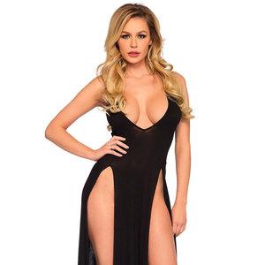 Leg Avenue Lingerie Leg Avenue Deep V Dual Slit Jersey Maxi Dress - Small