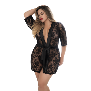 Mapale 1x/2x Black Satin And Lace Robe