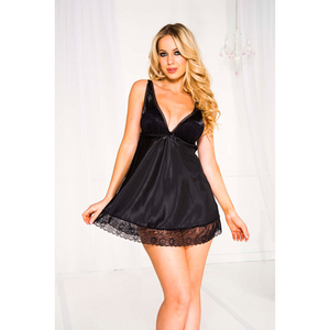 Music Legs Satin Overlace Cup With Lace Trim Mini Dress Black