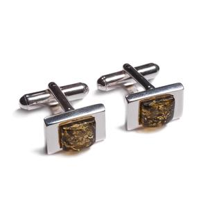 Classic Rectangle Cufflinks In Silver And Amber - Green