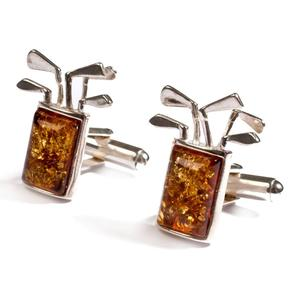 Golf Club Cufflinks In Silver And Amber - Cherry