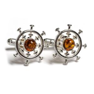 Ship Wheel Cufflinks In Silver And Amber - Cognac