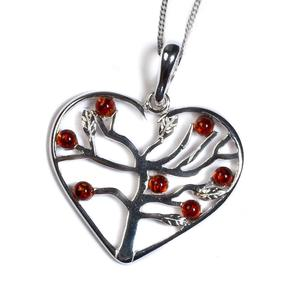 Symbol Of Love Heart Necklace In Silver And Amber - Cognac / 16/42cm
