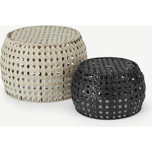Made.com Aakko Set Of 2 Poly Rattan Decorative Stools, Natural Black,natural