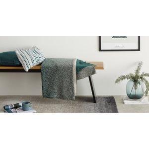 Made.com Aimi Cotton Knit Throw 130 X 170cm, Lake Green , Green