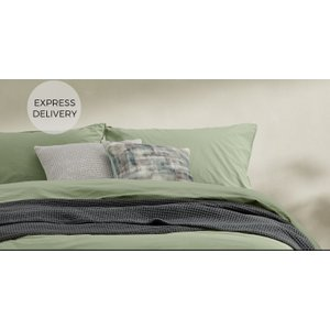 Made.com Alexia 100% Stonewashed Cotton Pair Of Pillowcases, Soft Green Uk , Green