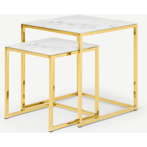 Made.com Alisma Nesting Tables, Marble Effect Glass & Brass Brass,white, Brass,White