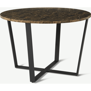 Made.com Amble 4 Seat Round Dining Table, Brown Marble Effect & Black, Brown