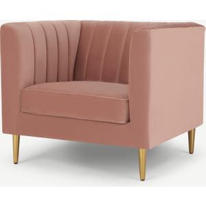 Amicie Armchair, Blush Pink Velvet Chairs, Pink