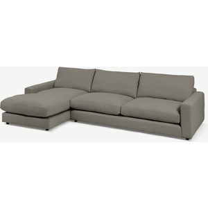 Made.com Arni Large Left Hand Facing Chaise End Sofa, Dove Grey Boucle, Grey