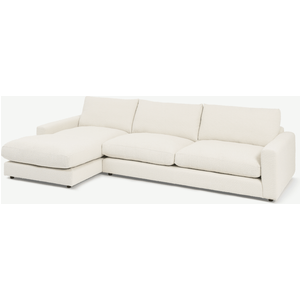 Made.com Arni Large Left Hand Facing Chaise End Sofa, Ivory White Boucle, White