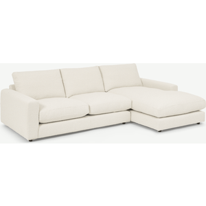 Made.com Arni Right Hand Facing Chaise End Sofa, Ivory White Boucle, White