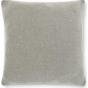 Made.com Aspen 100% Cotton Knitted Cushion 50x50cm, Grey/off White Grey,white , Grey,White