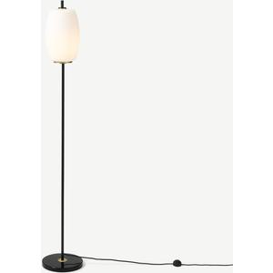 Made.com Ayala Floor Lamp, Black, Antique Brass & Opal Glass Brass,white, Brass,White
