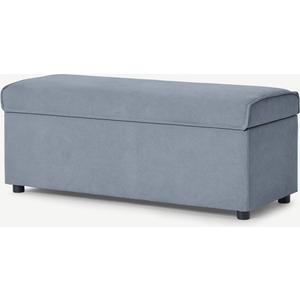 Made.com Bahra Ottoman Storage Bench, Washed Blue Cotton, Blue