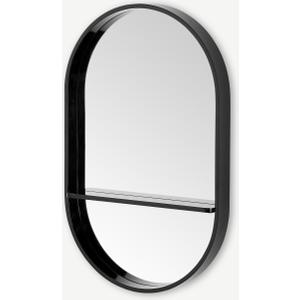 Made.com Bex Pill Shape Wall Mirror With Shelf, 75 X 47cm, Black , Black