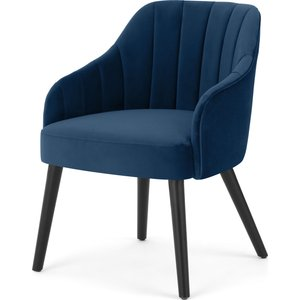 Made.com Boltan Dining Chair, Blue Velvet And Black Wood Legs, Blue