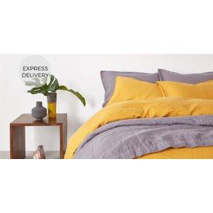 Made.com Brisa 100%  Linen Pair Of Pillowcases, Dark Mustard Uk Yellow , Yellow