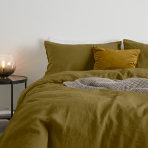 Made.com Brisa 100% Linen Pair Of Pillowcases, Olive Brown,green , Brown,Green