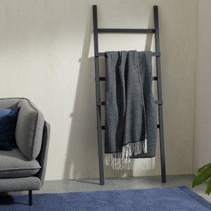 Made.com Burley Wool Throw 125 X 170cm, Dark Blue/grey Blue,grey , Blue,Grey