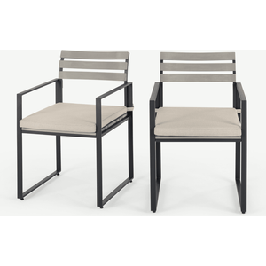 Made.com Catania Garden Set Of 2 Garden Dining Chairs, Grey And Polywood Grey,neutral, Grey,Neutral