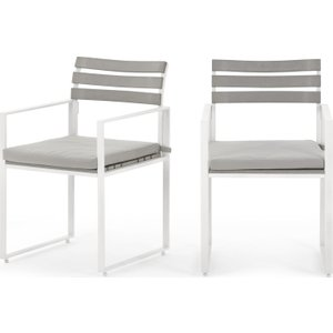Made.com Catania Garden Set Of 2 Garden Dining Chairs, White And Polywood Grey,white , Grey,White
