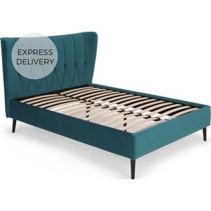Made.com Charley Super King Size Bed, Seafoam Blue Velvet & Black Legs