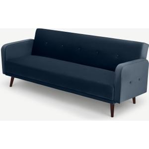 Made.com Chou Click Clack Sofa Bed, Sapphire Blue Velvet, Blue