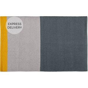 Made.com Colourblock 100% Cotton Bathmat, 50x80cm, Grey & Mustard Grey,yellow , Grey,Yellow