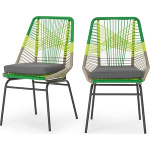 Made.com Copa Garden Set Of 2 Dining Chairs, Citrus Green , Green